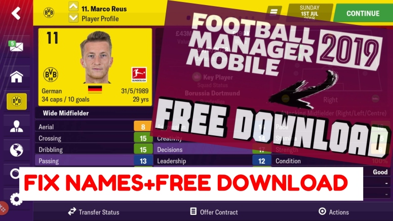 FOOTBALL MANAGER MOBILE 2019-MOD APK 2019 (REAL NAMES FIX) DOWNLOAD